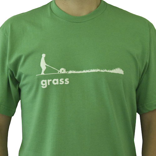 Back by popular demand, our grass graphic is in stock again. We originally wanted to produce this graphic with flock, and the time has finally come. We are offering the new grass graphic flocked, and as soft as ever, in white and dark green.