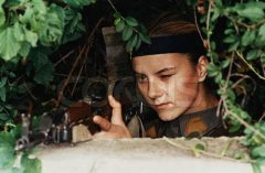 Bosnian Defender Pointing Rifle October 1, 1992 Sarajevo, Bosnia and Herzegovina